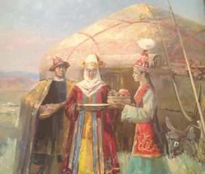 A traditional painting, at Intercontinental Almaty