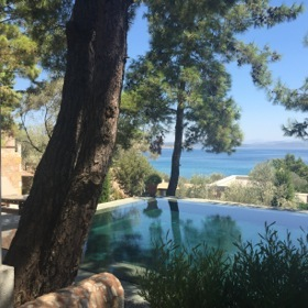 Looking across one of the villas' private pools