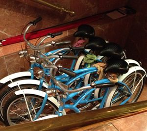 The hotel's KLM-blue bikes