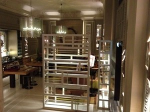 Looking into the hotel's elegant Champagne Bar