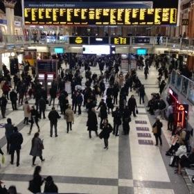 Liverpool Street station concourse looks like a Lowry