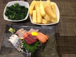 Fabulous room service dinner, sashimi, spinach - and chunky chips (fries)