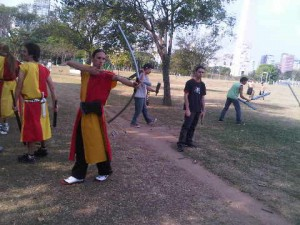 Archers at Ibirapuera Park in Sao Paulo, Brazil