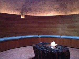 Looking around the earth-floored crystal meditation cave
