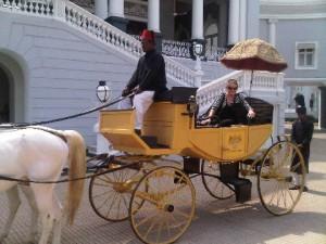 Carriage arrival at Falaknuma Palace, Hyderabad, India
