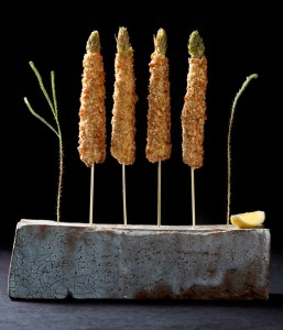The asparagus skewer dish comes on (or in) a slate stone - MEGU Midtown, Trump World Tower, New York