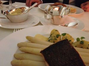 Hamburgers say their asparagus - here with sea bass - is the world's best