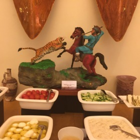 Young workers at Atlantis made this breakfast buffet sculpture