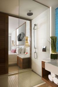 ..and glass-walled bathroom