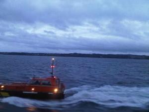 The Belfast pilot ship raced alongside Silver Explorer before dawn