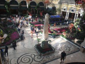 Looking down at Bellagio's lobby garden