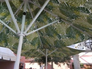 Memorable pool-side umbrellas at The Beverly Hills Hotel