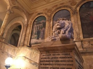 A main staircase at Boston Public Library