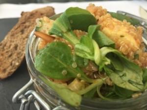 Salad in a kilner jar, on Korso terrace at the Intercon
