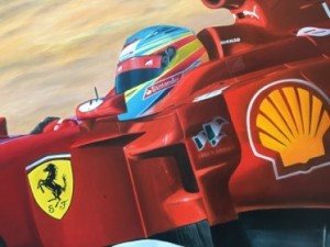 Suitably, a Ferrari painting