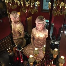 Buddha dominates the upper-floor restaurant