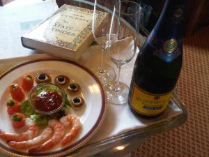 Welcome aboard - with Champagne, canapés welcomo aboard Silversea's Silver Explorer