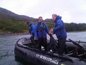 Siver Explorer's chef Christian Armster, right, fishing