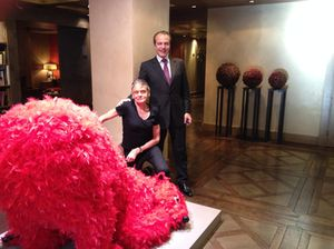 Paola Pivi's pink-feather bear, and GM Romain Meiran