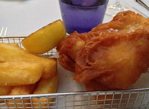 Fish and chips, in a wire basket