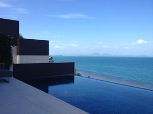 Looking across villa 302's private pool, and over the Indian Ocean