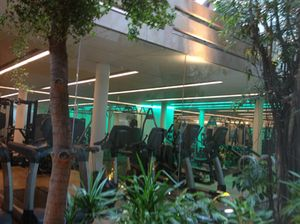Looking through to the sky-lit gym