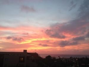 Sunset at Costa Navarino, from its main building