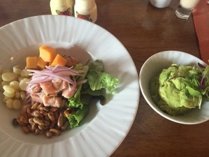 Ceviche, Peru-style, and guacamole