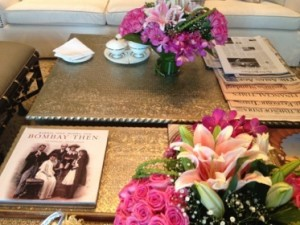 Yet more flowers, and fascinating literature, on a coffee table