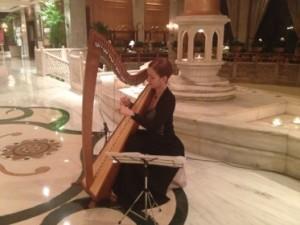 A harpist plays, evening long
