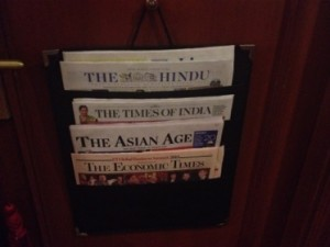 Presentation of today's newspapers, outside your door