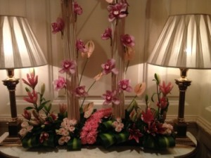 Floral display just inside the door of suite 930