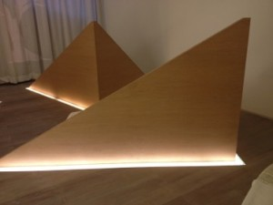 Each 'pyramid' shields a relax bed, in the spa