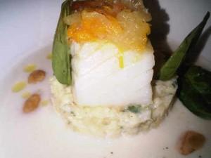 Cod with citrus caviar, buffalo yoghurt and almond