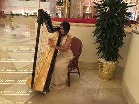 Breakfast harpist
