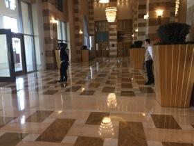 The lobby is vast