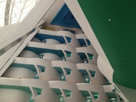 Look up, at the open-atrium interior