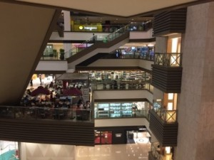 Multiple floors of affordable-luxury retail