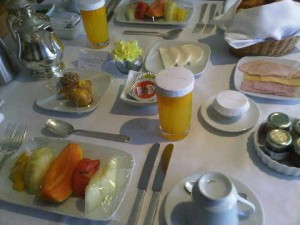 In-room continental breakfast at the Emiliano luxury hotel in Sao Paulo