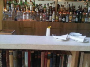 Library below bar counter at the luxury Hotel Emiliano in Sao Paulo, Brazil