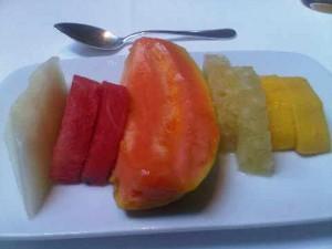 Platter of freshest fruit, at Hotel Emiliano's breakfast