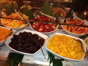 Fruit display at breakfast