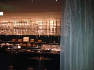 View through to the Nobu kitchen, past semi-transparent curtains