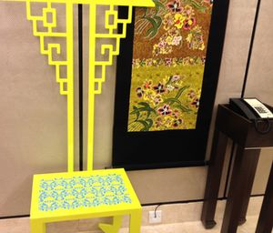 Chair by elevators