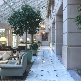 Looking along its  airy lobby