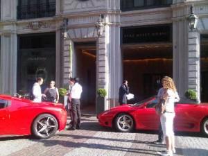 Ferraris outside Park Hyatt Milan