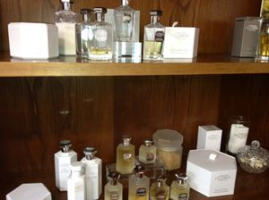A small display of his products
