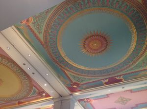 The lobby's beautiful ceiling