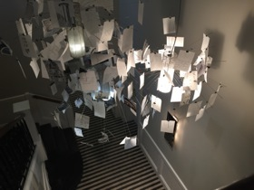 Paper chandelier in a room corridor
