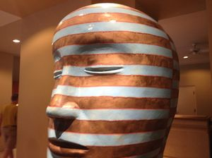 One of two Jun Kaneko sculptures